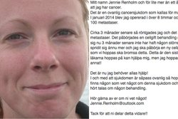 Facebook, Spridning,  Jennie Renholm, Cancer