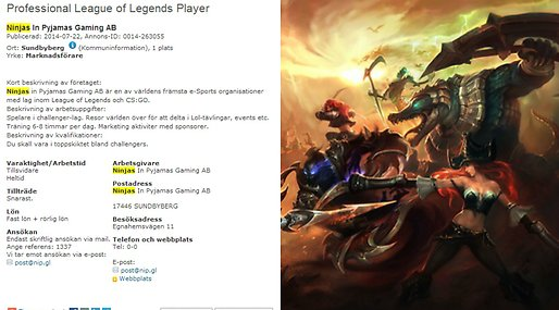 League of legends, Jobb, Nip, E-sport, Ninjas in Pyjamas, Gamers,  Arbetförmedlingen