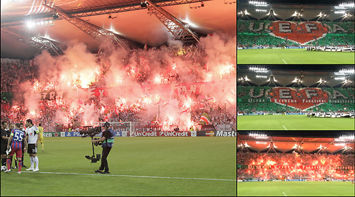 Champions League, tifo, Legia Warszawa, Supportrar, Steaua Bukarest, Uefa