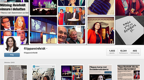 instagram, Moderaterna, Filippa Reinfeldt