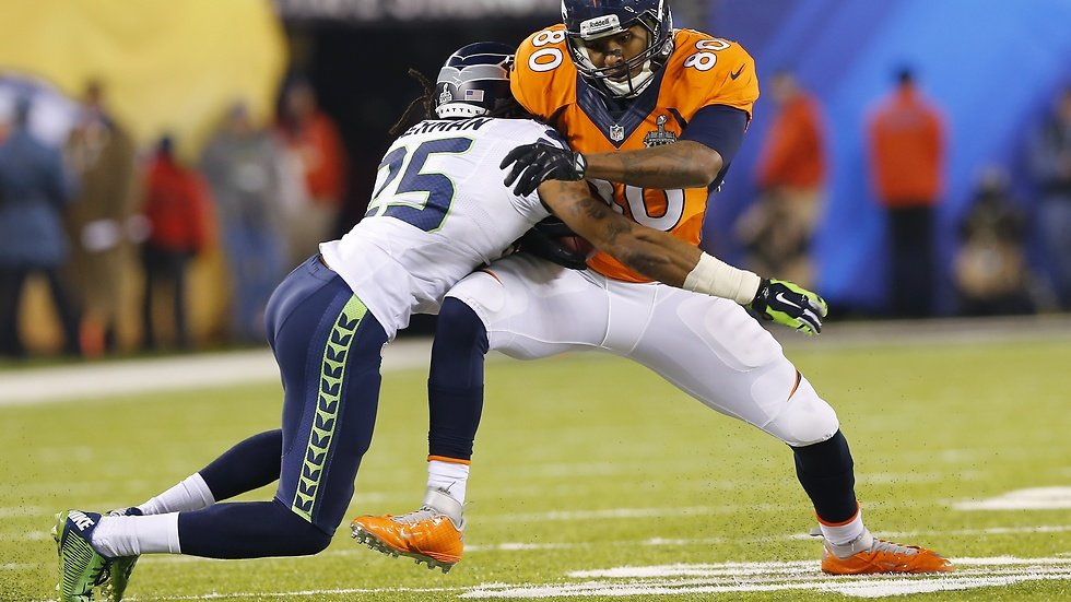 Denver Broncos Julius Thomas och Seattle Seahawks Richard Sherman.