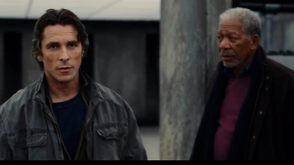 Christian Bale och Morgan Freeman i The Dark Knight