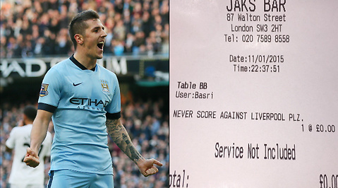 Stevan Jovetic, Nota, Kvitto, London, Servitör, Manchester City, Premier League, Restaurang, Liverpool