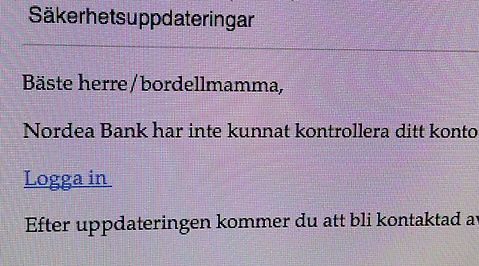 Bluffmejl, Nordea, Spam