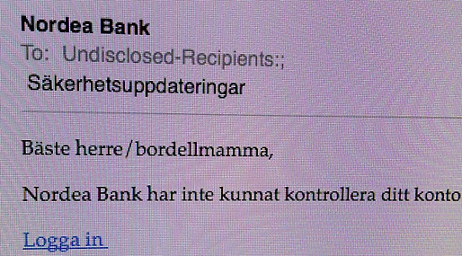 Nordea, Bluffmejl, Spam