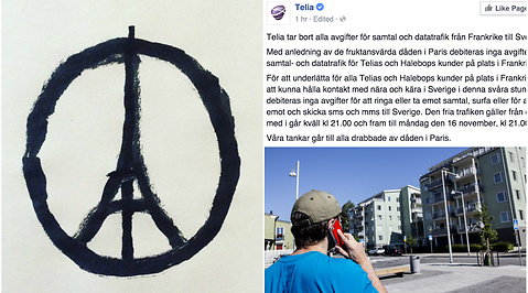 Telia, Attack, Samtal, Attentat, Paris, Terror, Facebook